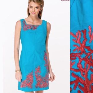 Lilly Pulitzer Turquoise Dress Coral Embroidery